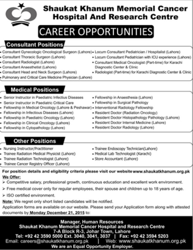MBBS Doctors Jobs in Shaukat Khanum Hospital Lahore