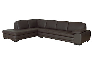Two Piece Dark Brown Leather Sectional Sleeper Sofa With Chaise