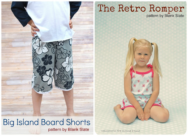 Big Island Board Shorts and Retro Romper sewn by Welcome to the Mouse House
