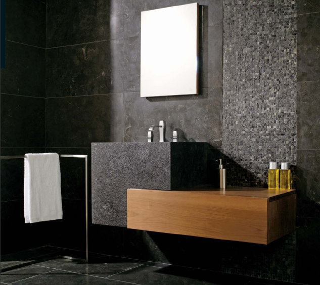 Casa funcional Banheiros com pedras naturais -> Banheiros Com Pastilhas De Pedra