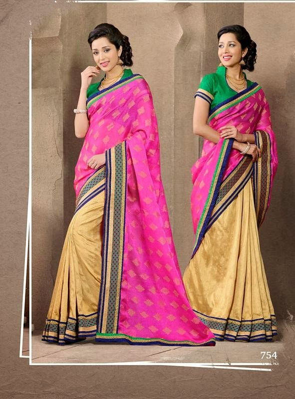 Beige And Hot Pink Designer Bollywood Saree With Silk Blouse