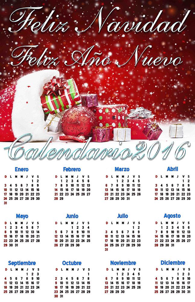 Felices fiestas, feliz año 2016 - Calendarios para Photoshop gratis.