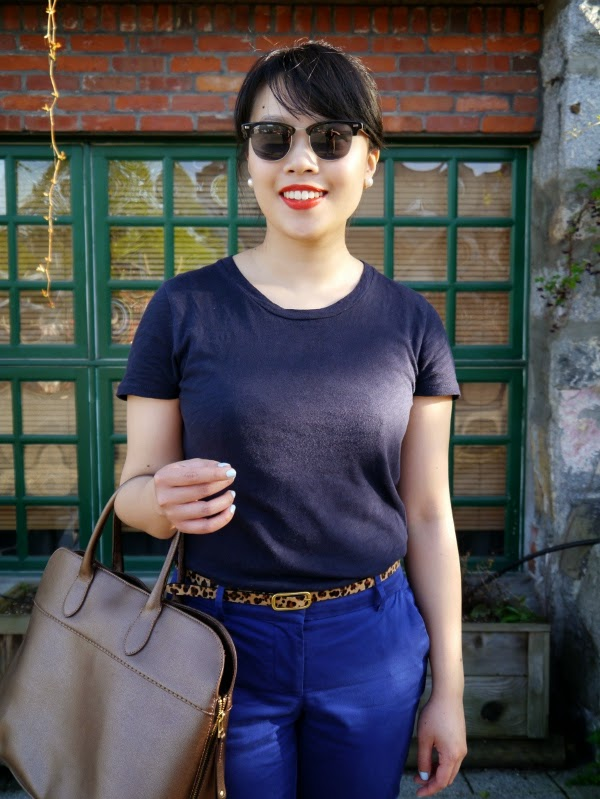 Business casual look with a navy blue tee