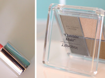 Beauty: & Other Stories lipgloss in Pavillon Coral, eye colour palette in Chatelaine Khaki review