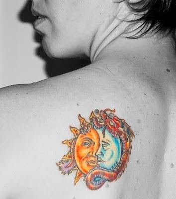 Moon and sun tattoo designs info for Half sun half moon tattoo