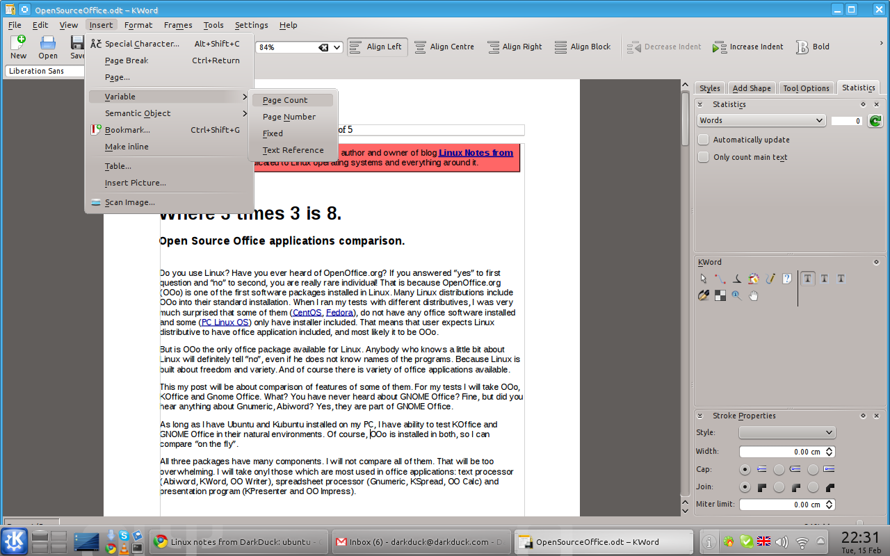 Page Numbering in OpenOffice?