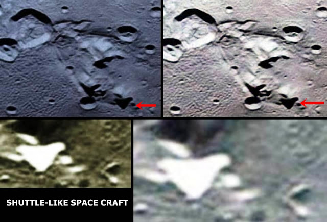 Space Shuttle-like Craft and Buildings on Pluto's largest moon Charon?  Pluto%2Bcharon