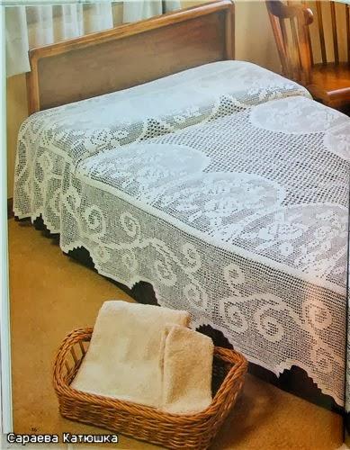 Crochet Knitting Handicraft: Crocheted bedspread