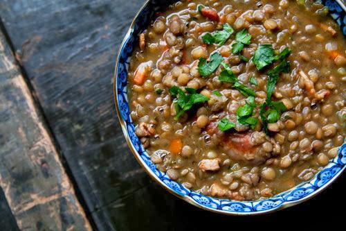 Lentil soup sausage stew
