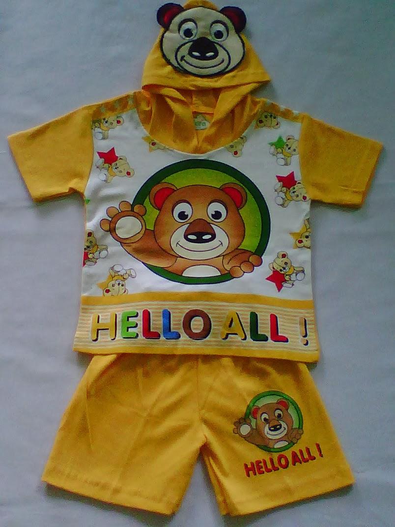 Setelan Hoodi bahan Motif Hello All Kuning