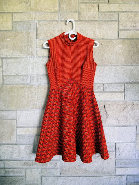 1950s, 1960s, 50s 60s dress, mini, zig zag, chevron, high neck, turtleneck, polyester, rust colour, color, red, fall, Etsy
