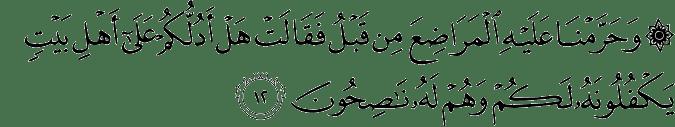 Surat Al Qashash ayat 12