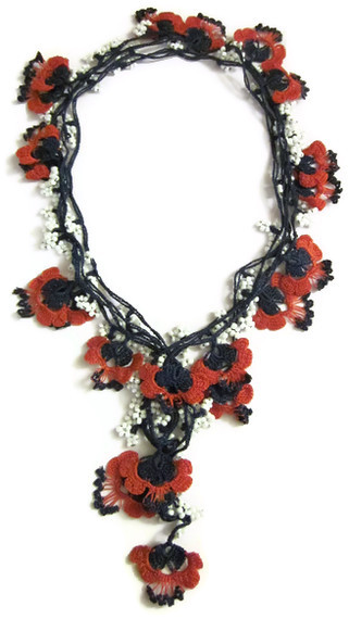 Hand Crocheted Floral Scarf Necklace black red with white ...