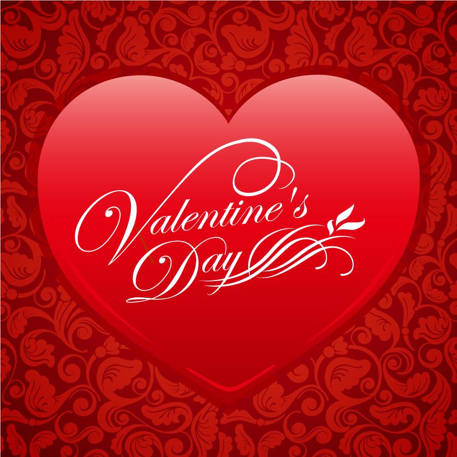 バレンタインデーの真っ赤なハート飾りの背景 Red Floral Heart Valentine Vector Background イラスト素材