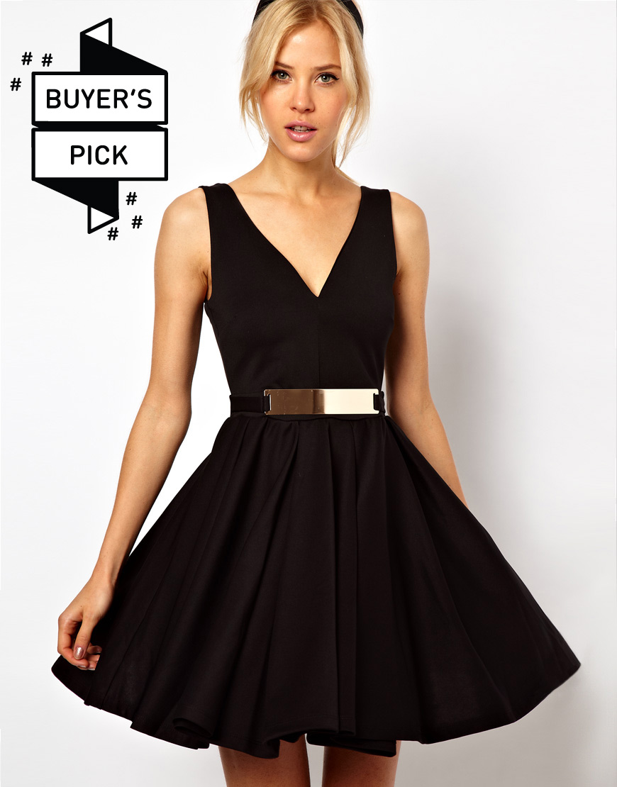 pretties closet asos structured skater dress with gold belt