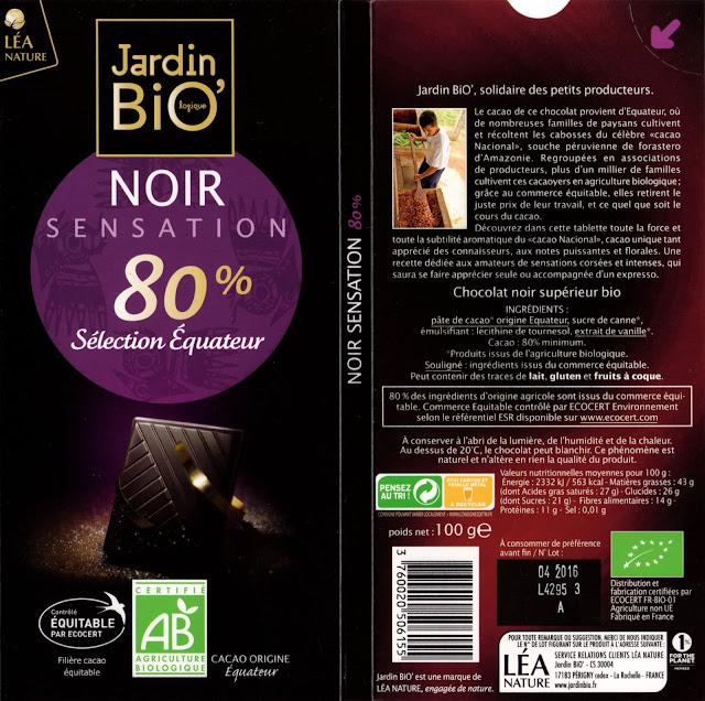 tablette de chocolat noir dégustation jardin bio noir sensation sélection equateur 80