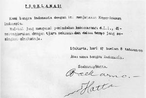 Teks naskah Proklamasi otentik Kemerdekaan Indonesia