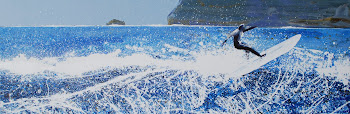 Polzeath, Cornwall - surfer, shadow, sea spray