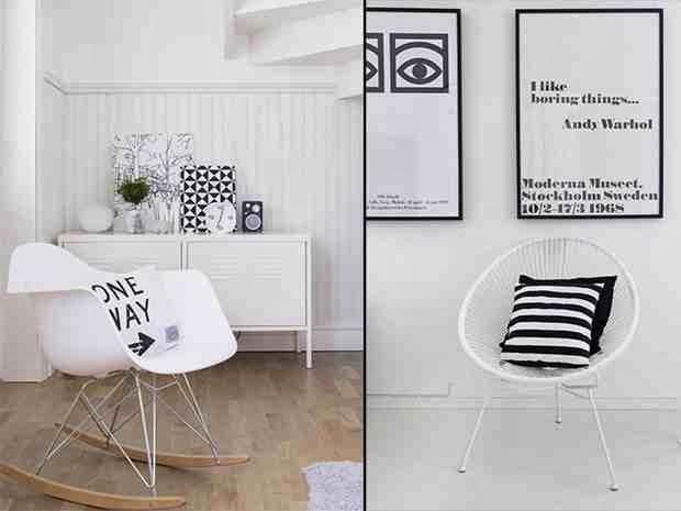 Styl skandynawski, typografia, plakat z cytatem Andy Warhol, białe wnętrze, grafika, bujane krzesło eames