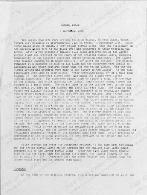UFO Incident Report Damon, Texas 9-3-1965