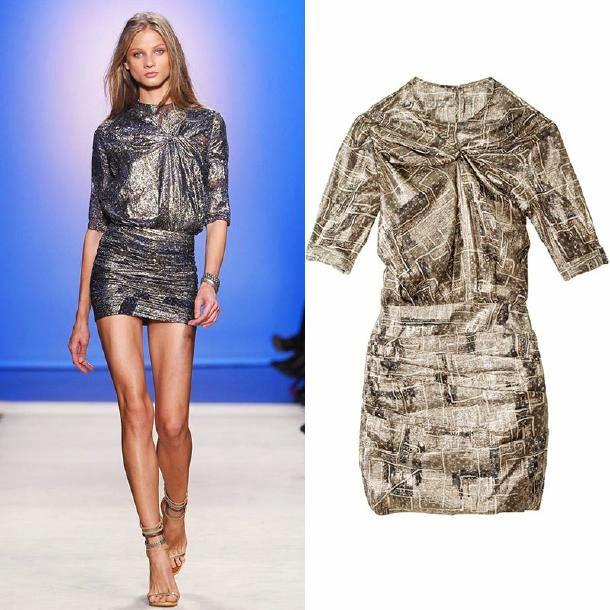 Ruched+metallic+minidresses