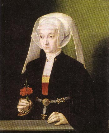 Painting by Barthel Bruyn of a woman wearing a wimple