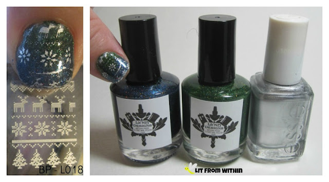 LynBDesigns Long Winter's Nap and Winnie, Essie No Place Like Chrome, and Born Pretty plate L018.