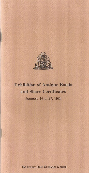 exhibition booklet by The Sydney Stock Exchange Limited