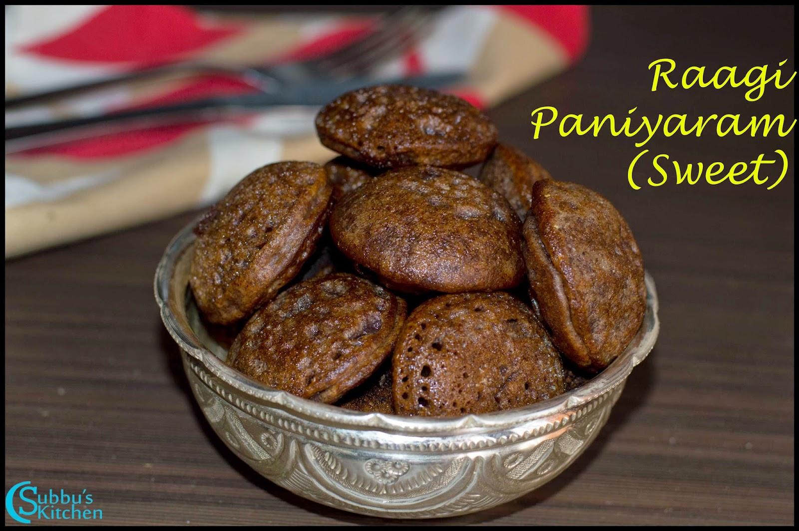 Raagi Flour Paniyaram (Sweet) Recipe | Instant Raagi Flour Sweet Paniyaram Recipe