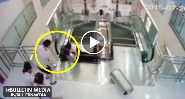 [VIDEO] NGERI ! Wanita Maut Ditelan Eskalator Di Pasaraya Tetapi Sempat Menyelamatkan Anaknya