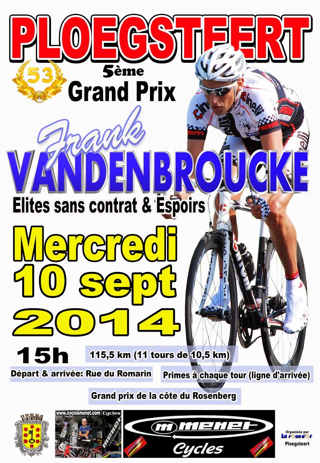 10 septembre Ploegsteert Grand Prix Frank VANDENBROUCKE
