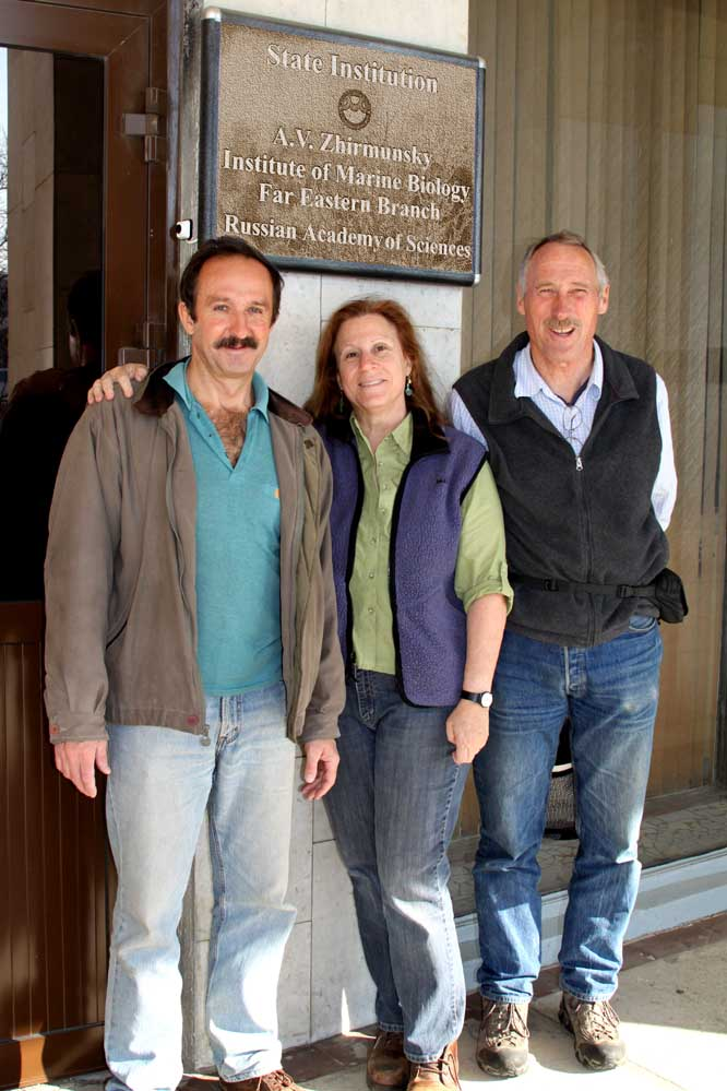 Vasily Radashevsky, Leslie Harris, John Chapman at the A.V. Zhirmunsky Institute of Marine Biology, Far Eastern Branch