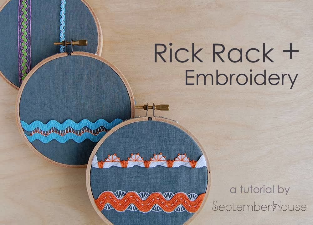 hand embroidery tutorial embroidered embellishing with rick rack DIY embroidery