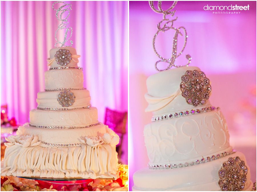 The 1st And 3rd Tiers Of Cake Were Adorned With Beautiful Brooches Provided By Bride Was Topped Grooms