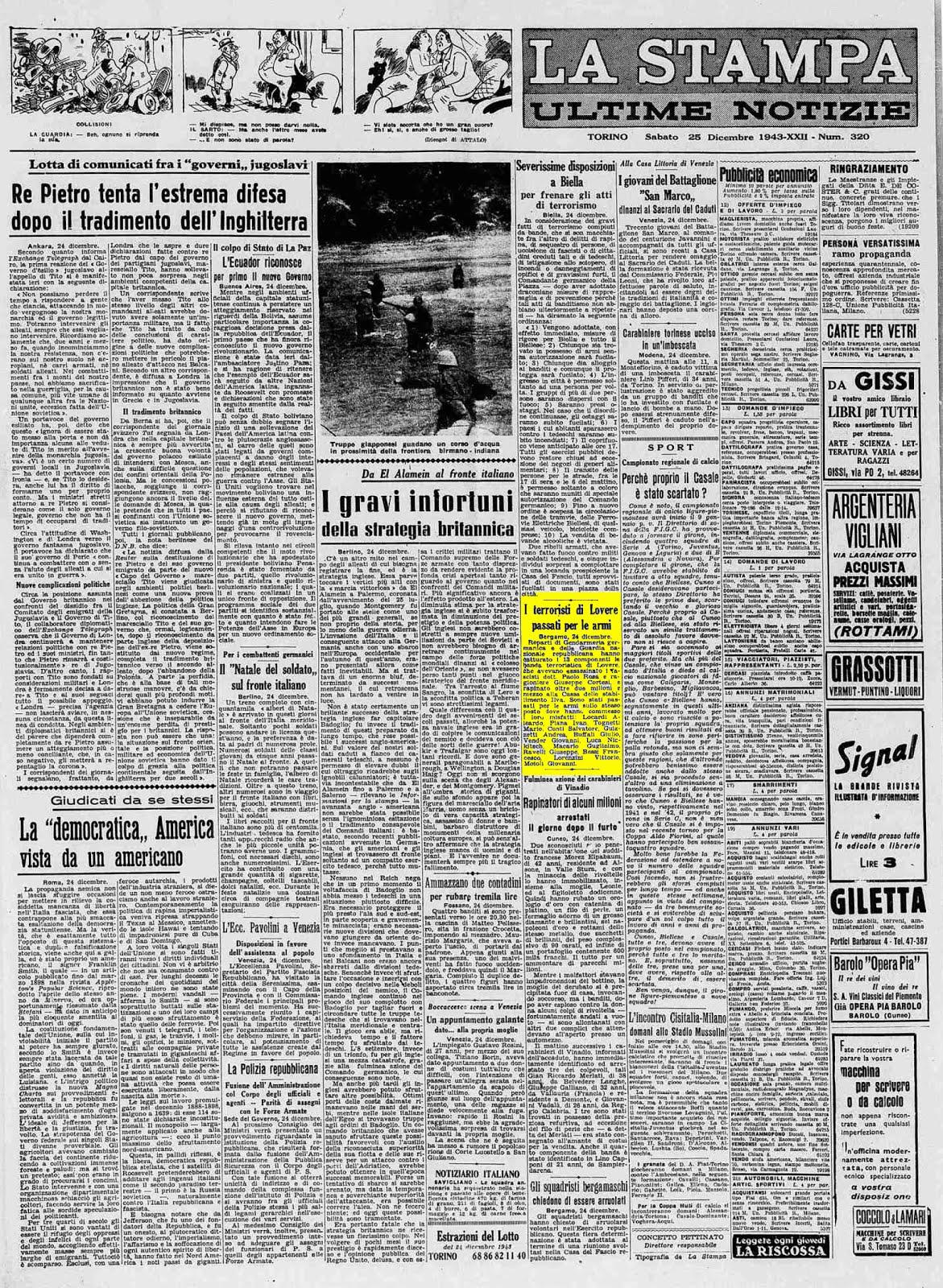 LA STAMPA 25 DICEMBRE 1943
