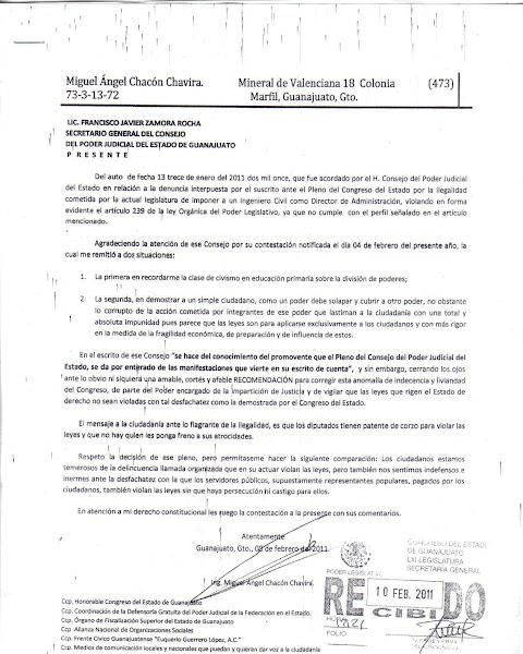 Carta a Francisco Javier Zamora Rocha