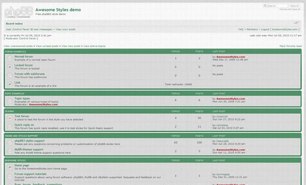 Free Simple Green Gray Phpbb Theme Template