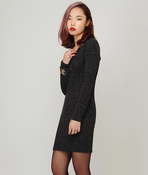 Lace Straps Bodycon Knit Dress