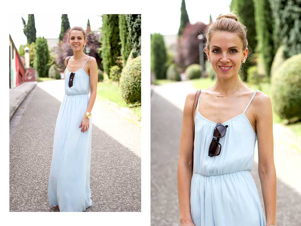 baby blue maxi dress, mini crossbody bag, summer outfit