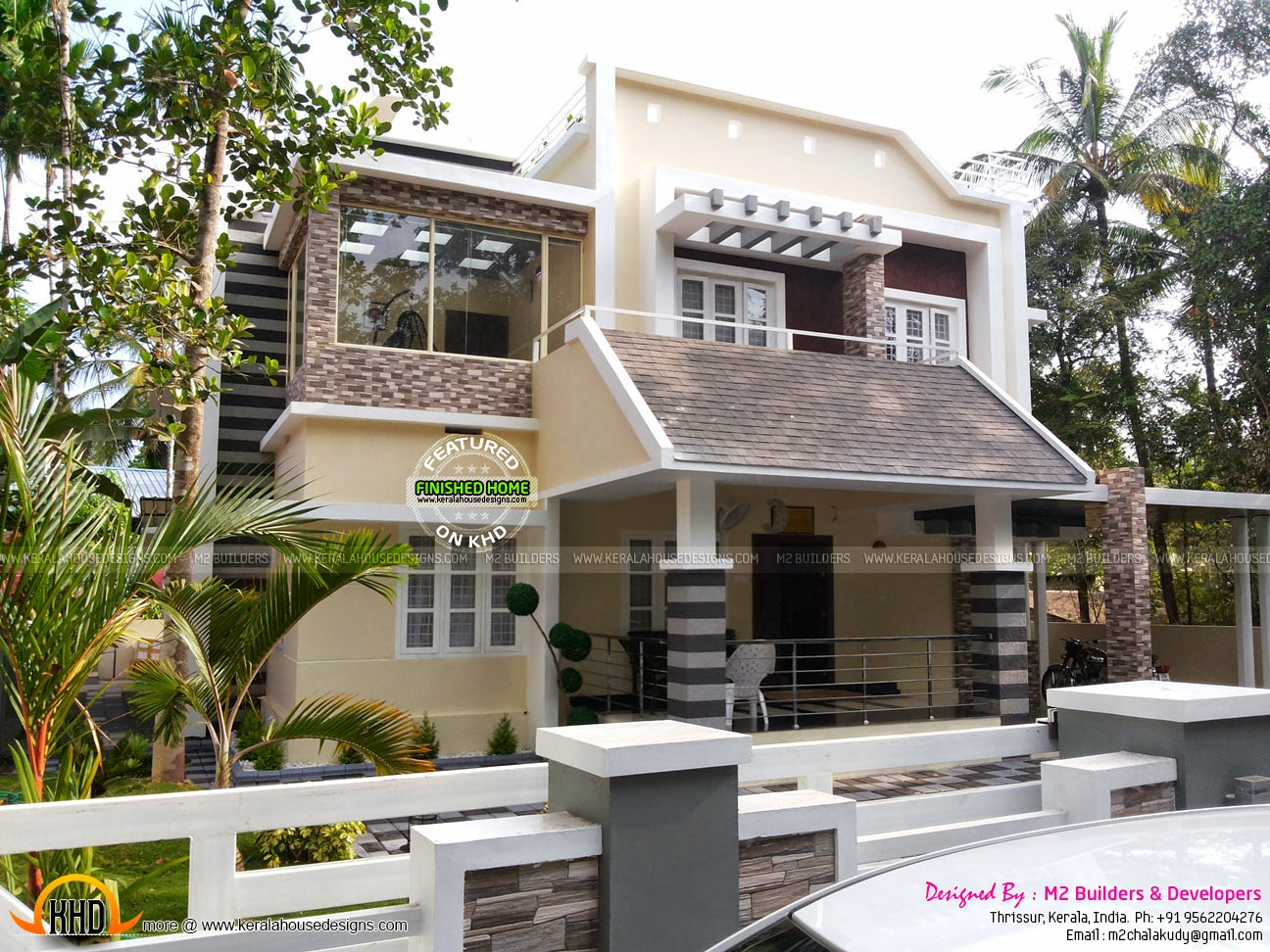Finished house with interior designs kerala home design for House plans with finished photos
