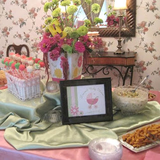 Pink and Green Baby Shower Dessert Table