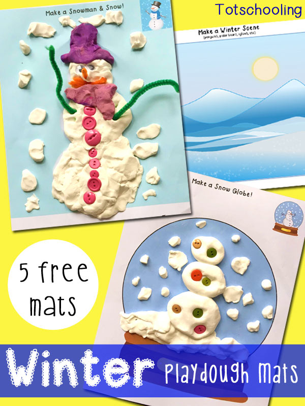 Free Winter Playdough Mats