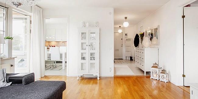 Un piso de estilo n rdico rom ntico en blanco y gris - Piso estilo nordico ...