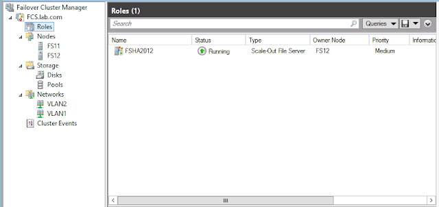 Scale out file server configuration completed