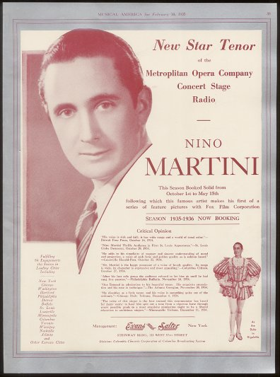 ITALIAN TENOR NINO MARTINI (1905 – 1976) CD
