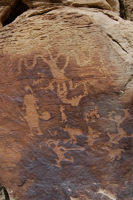 Kokopelli with a Spear on this Petroglyph Panel in Nine Mile Canyon Utah