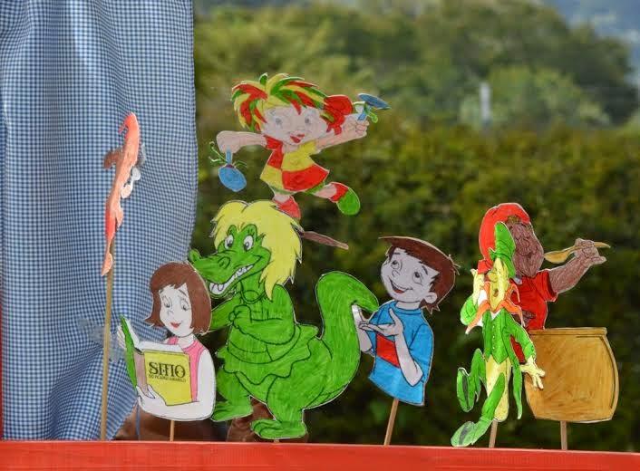 Fantoches dos personagens do Sítio do Pica-Pau Amarelo criados pelas crianças