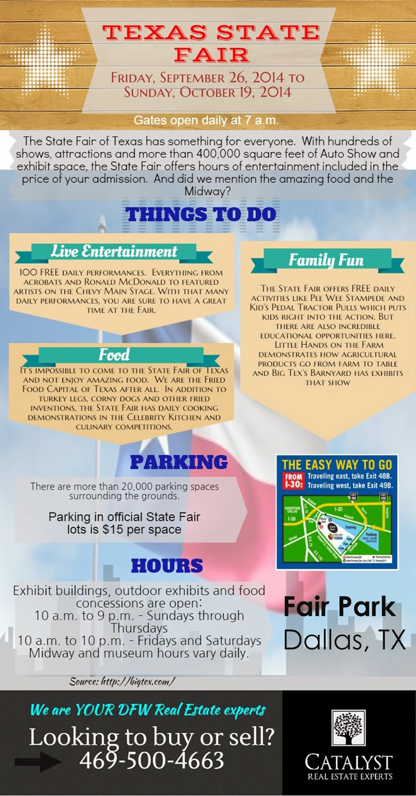 texas state fair hours dates, visit texas state fair 2014 this year, catalyst real estate experts texas state fair 2014 september, best fair in dallas, dallas fort worth entertainment, festival dfw 2014, big texas state fair schedule things to do parking