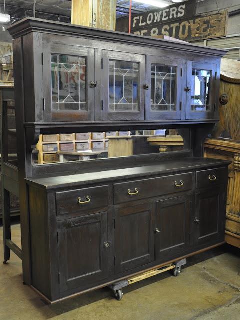 Oklahoma Barn Market Back Bar Cabinet With Leaded Glass