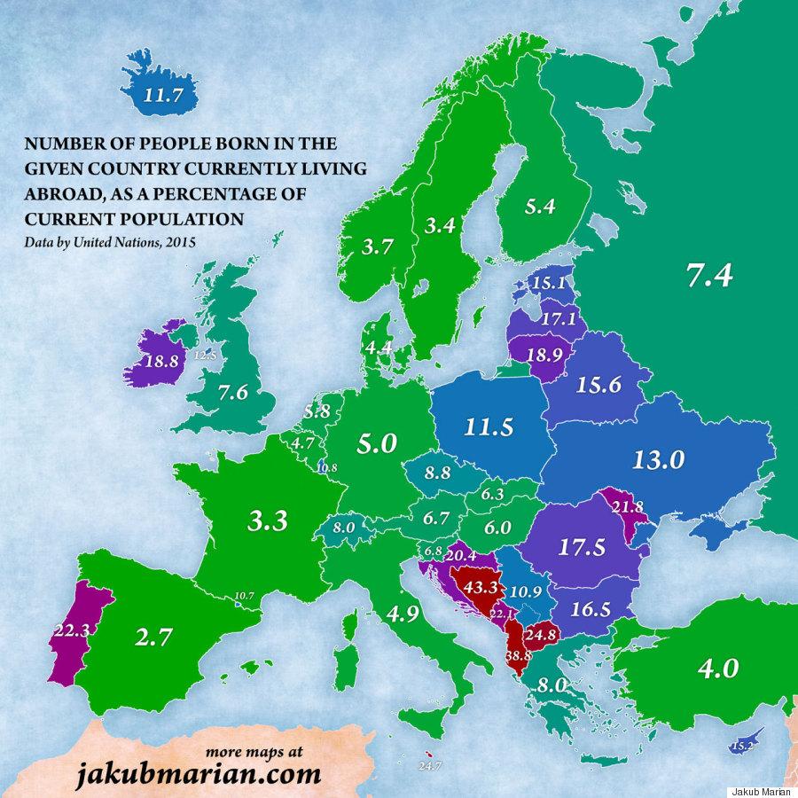 Χάρτες της Ευρώπης που δείχνουν πόσοι άνθρωποι αναγκάστηκαν να φύγουν από τη χώρα τους